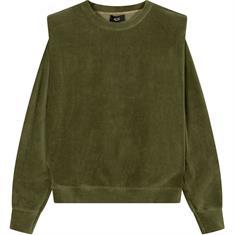 Alix The Label Knitted Rib Velvet dames sweater donkergroen