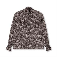 Alix The Label Woven Flower Linen dames blouse zwart