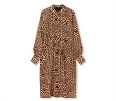 Alix The Label Woven Jaguar Oversized dames jurk casual bruin dessin