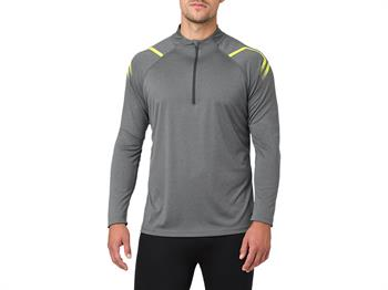 Asics Icon Zip Top Heren hardloopshirt lange mouwen antraciet