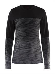 Craft Marino Ronde Hals dames thermoshirt zwart dessin