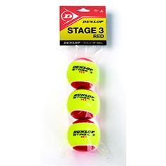 Dunlop Stage 3 zakje van 3x tennisballen rood