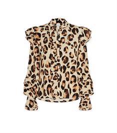 Fabienne Chapot Leo Frill Blouse dames blouse bruin dessin