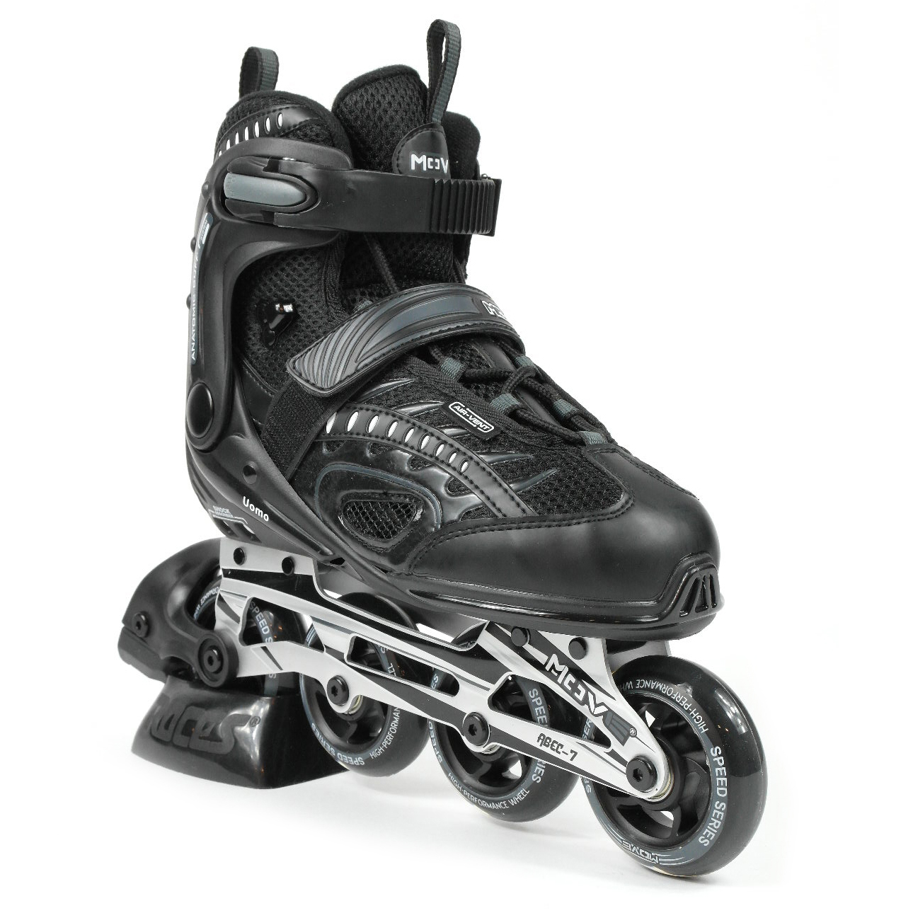5d8e7db26f7 Uomo skeelercomfortabele inline skate voor heren en dames in het zwart, de  move uomo unisex