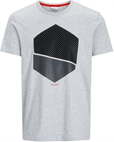 Jack & Jones Nolan Tee Crew Neck heren shirt midden grijs