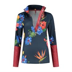 Kou Pully Flower dames ski pulli met rits blauw