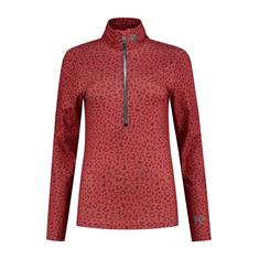 Kou Pully Red Panter dames ski pulli met rits rood