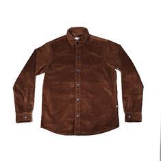 Kronstadt John Corduroy heren blouse korte mouw middenbruin