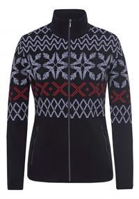 Luhta Haapalahti dames ski pulli met rits zwart dessin