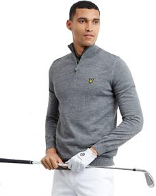 Lyle and Scott Golf Quarter Zip Pullover heren casual sweater midden grijs