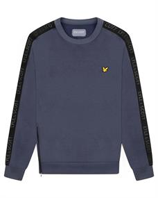 Lyle and Scott Sleeve Tape Crew heren casual sweater antraciet