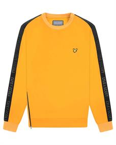 Lyle and Scott Sleeve Tape Crew heren casual sweater oker