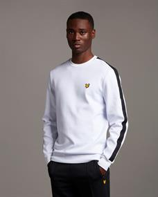 Lyle and Scott Sleeve Tape Crew heren casual sweater wit