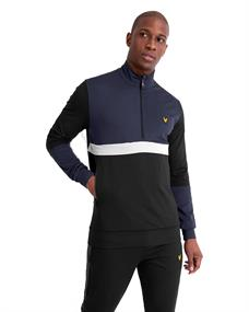 Lyle and Scott Track Tech 1/2 Zip heren casual sweater zwart