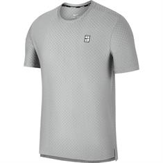 Nike Court Checkered heren tennisshirt midden grijs