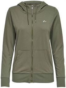 Only Lina Zip hood dames sportsweater groen
