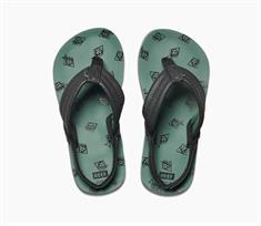 Reef Ahi t/m maat 33 +hak jongens sandalen groen dessin