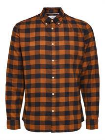 Selected Flanellen heren overhemd bruin dessin