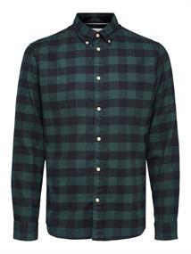 Selected Flanellen heren overhemd donkergroen