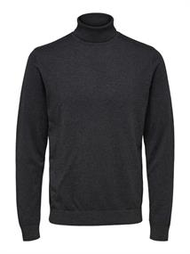 Selected Pima heren casual sweater antraciet