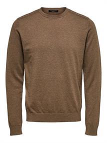 Selected Pima heren casual sweater middenbruin