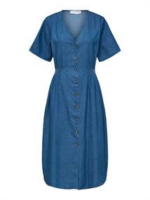 Selected SLFCLARISA SS V NECK DRESS U dames jurk casual denim