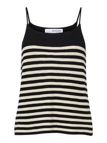 Selected SLFELINA SL KNIT TOP STRIPE W dames shirt zwart