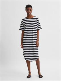 Selected SLFIVY 2/4 BEACH DRESS STRIPE M dames jurk casual zwart