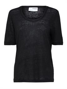 Selected SLFLINEN SS U-NECK TEE B dames shirt zwart