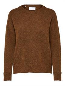 Selected SLFLULU LS KNIT O-NECK B NOOS dames sweater cognac