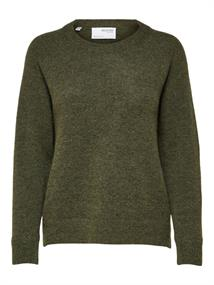 Selected SLFLULU LS KNIT O-NECK B NOOS dames sweater donkergroen