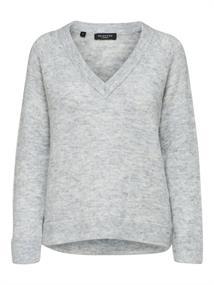 Selected SLFLULU LS KNIT V-NECK B NOOS dames sweater midden grijs