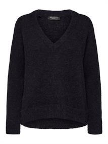 Selected SLFLULU LS KNIT V-NECK B NOOS dames sweater zwart