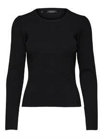Selected SLFSTANDARD SS V-NECK TEE dames sweater zwart