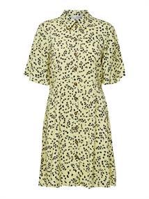 Selected SLFUMA 2/4 SHORT AOP SHIRT DRESS M dames jurk casual geel