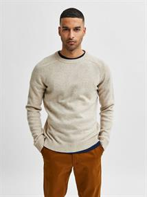 Selected SLHNEWCOBAN LAMBS WOOL CREW NECK W heren casual sweater cognac