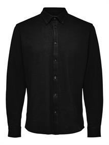 Selected Slim-Fit Button Down heren overhemd zwart