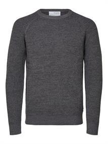Selected Zware Textuur heren casual sweater grijs