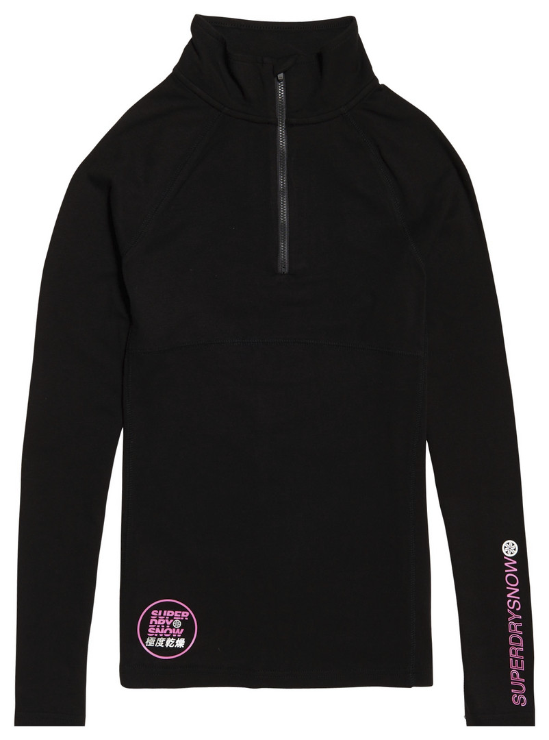 Super Dry Carbon Baselayer Zip dames ski pulli met rits