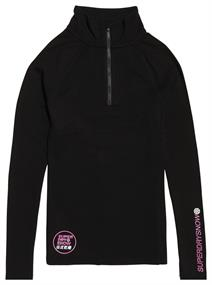 Super Dry Carbon Baselayer Zip dames ski pulli met rits zwart