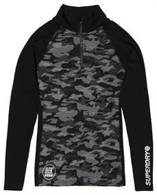 Super Dry Carbon Baselayer Zip heren ski pulli zwart dessin
