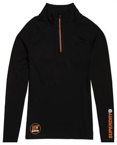 Super Dry Carbon Baselayer Zip heren ski pulli zwart