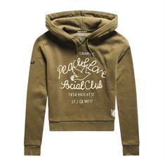 Super Dry Military Logo Crop Hood dames sweater khaki
