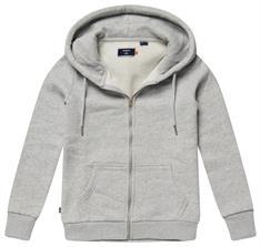 Super Dry Ol Classic Ziphood dames sweater midden grijs