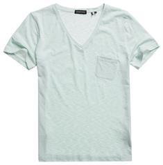 Super Dry Pocket V Neck Tee dames shirt blue