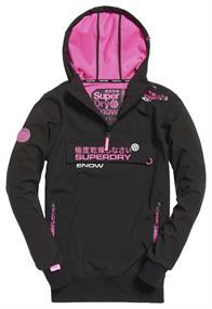Super Dry Snow Tech Half Zip dames ski pulli met rits zwart