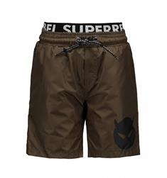 Super Rebel Double Waistband jongens beachshort groen