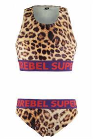 Super Rebel Tanktop meisjes bikini bruin dessin
