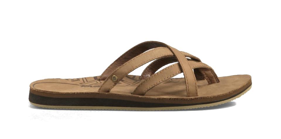 8a6c184fee500c Teva Olowahu Leer Dames slippers lichtbruin - Slippers   Sandalen ...