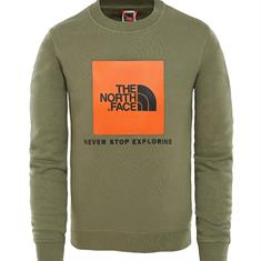 The North Face Box Crew jongens casual sweater donkergroen
